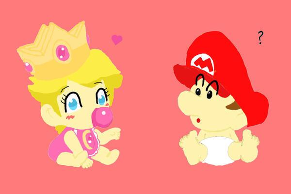 baby peach and baby mario by madam milano - Bebe Mario