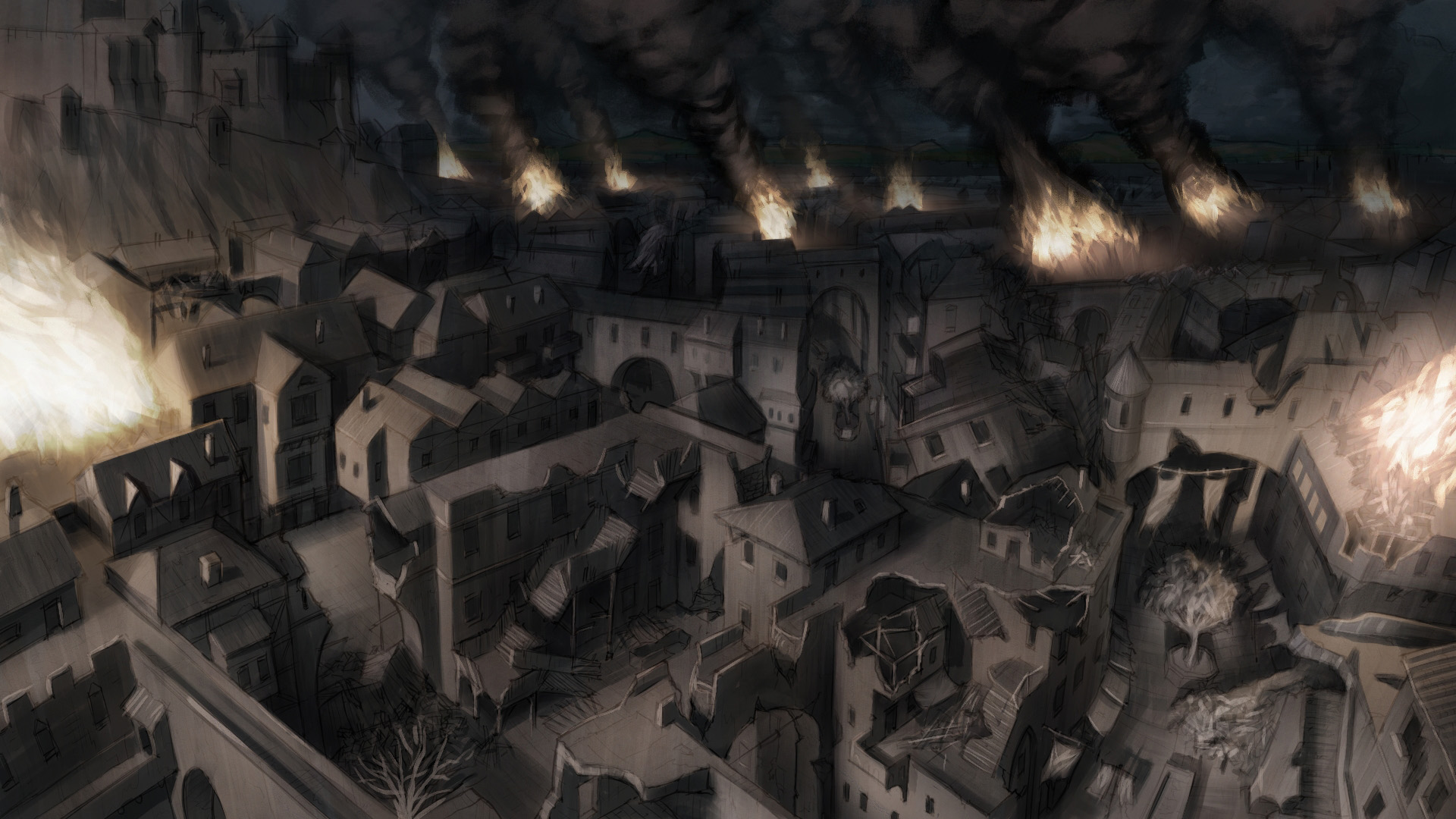 Cartea Mortii Ruined_Medieval_City_Level_by_mikemars