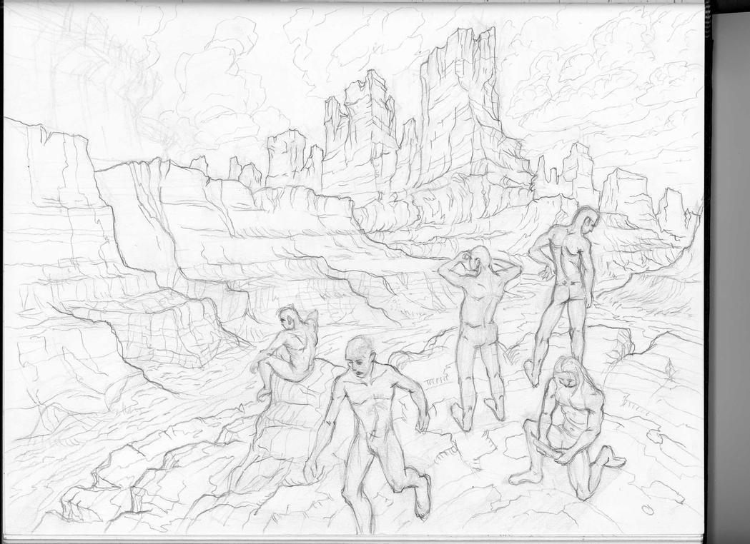 naked men frolicking in desert by mikemars