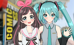 Ai and Miku at Comic-Con by pastelaine-art