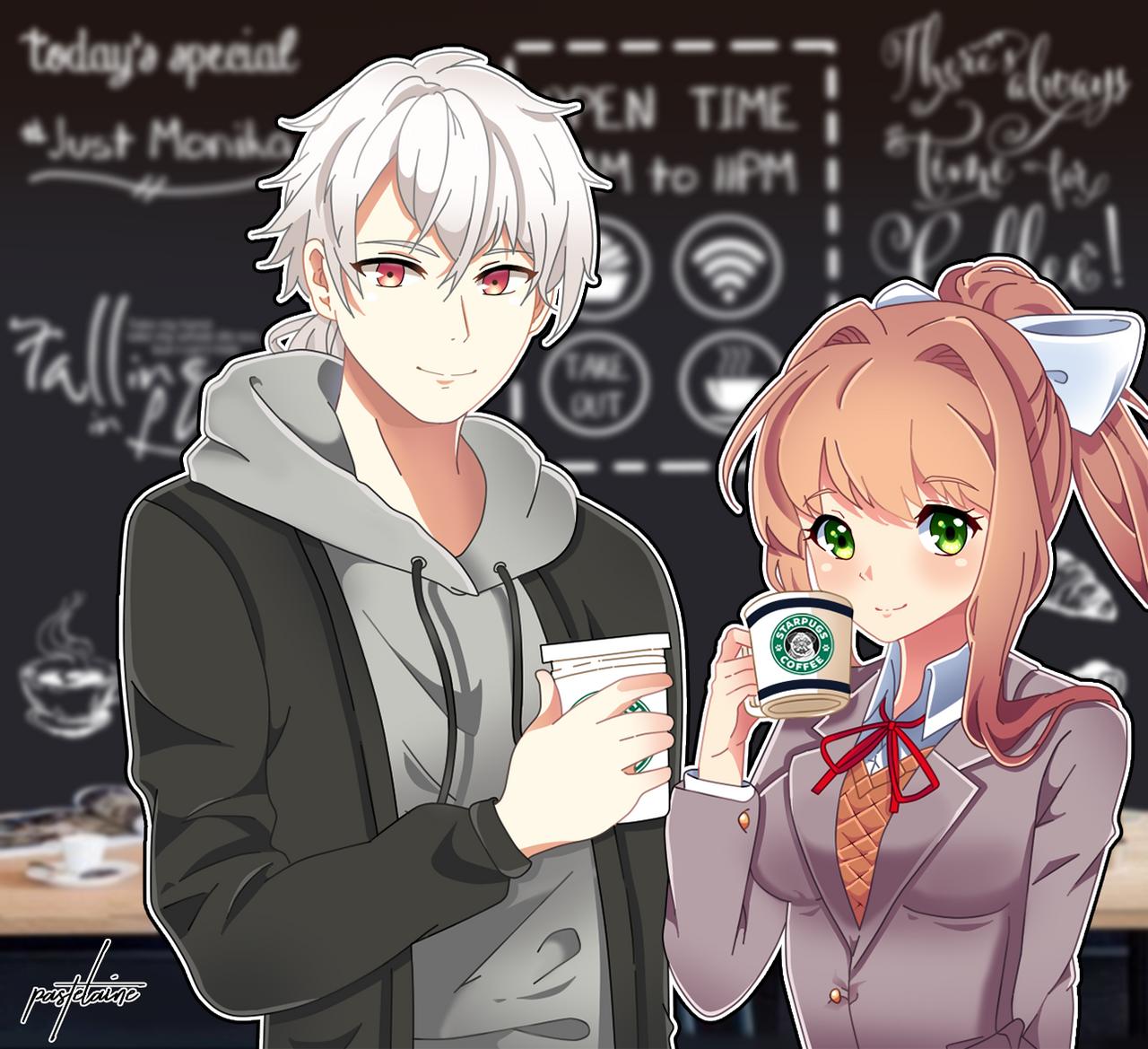 (Kofi) Coffee with Zen and Monika by pastelaine-art