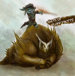 Captain Black Bill the Blade on Owlbear by Nravizu