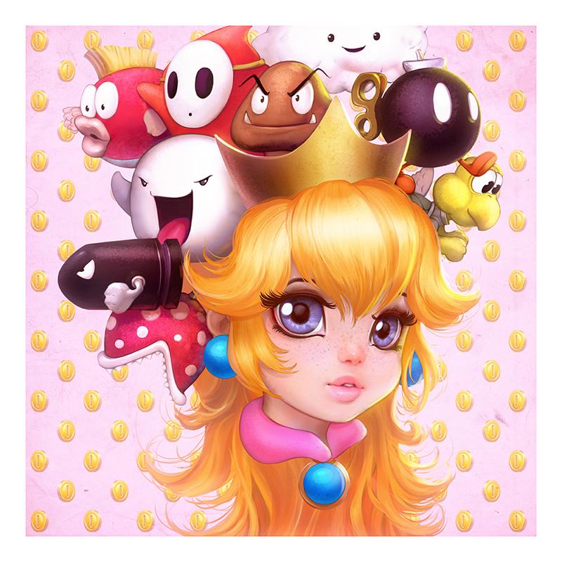 Princess Peach : collab with Camilla d'Errico by AmandaDuarte