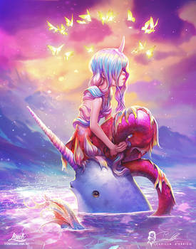 Mermaid and Narwhal : collab with Camilla d'Errico