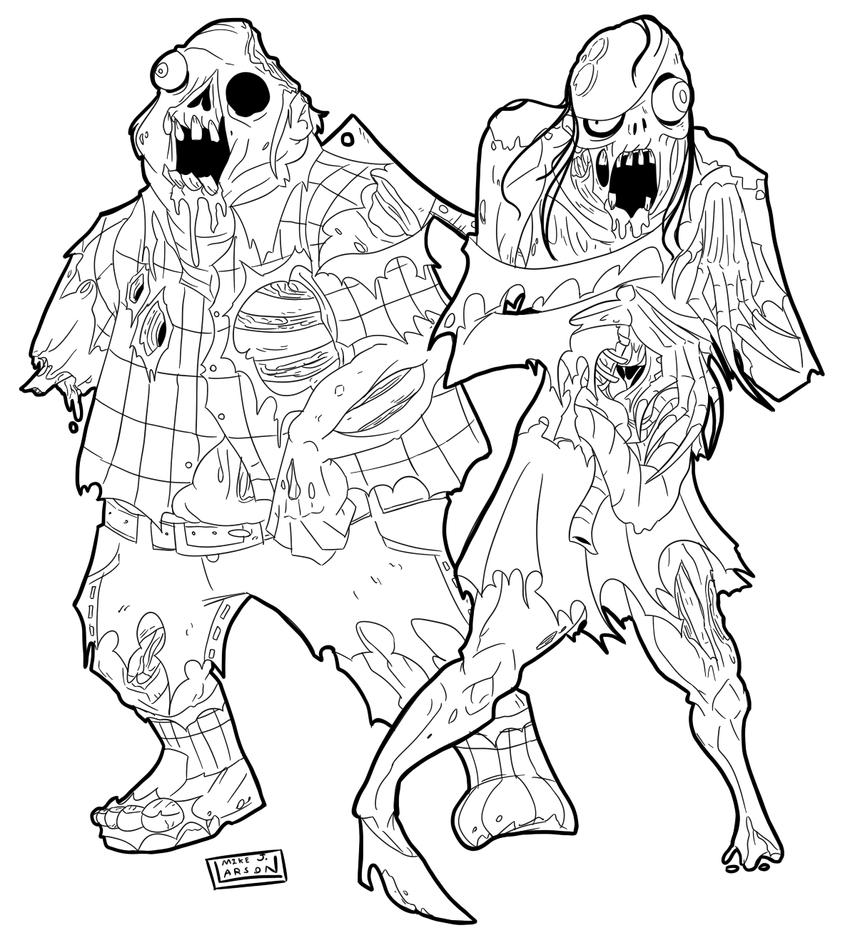 Zombie line art for Natsutanaka by MichaelJLarson