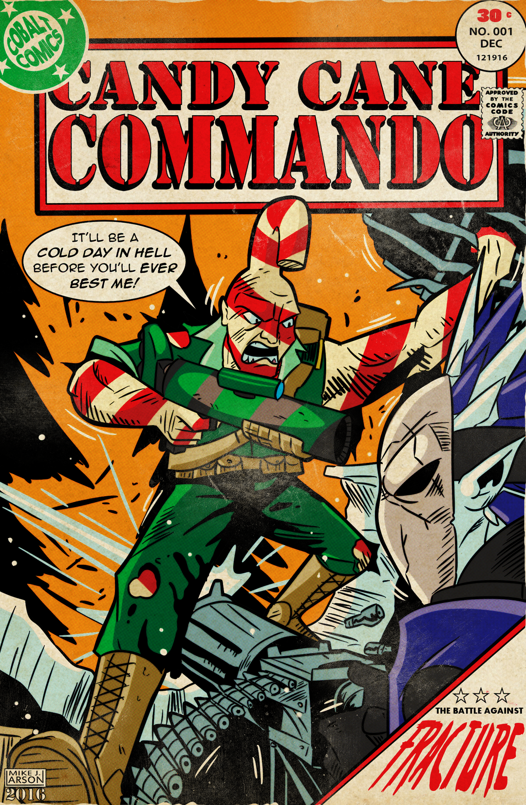 Cobaltkatdrone Commission: Candy Cane Commando by MichaelJLarson