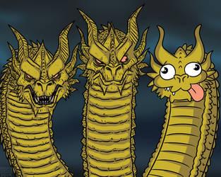 King Ghidorah in a Nutshell by MichaelJLarson