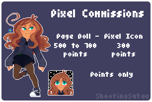 [OPEN] Pixel Commissions by ShootingSutaa
