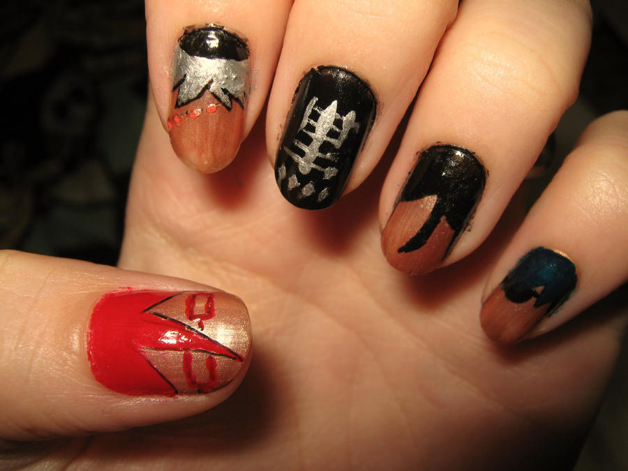 Kuroshitsuji themed nails by ColorPixie