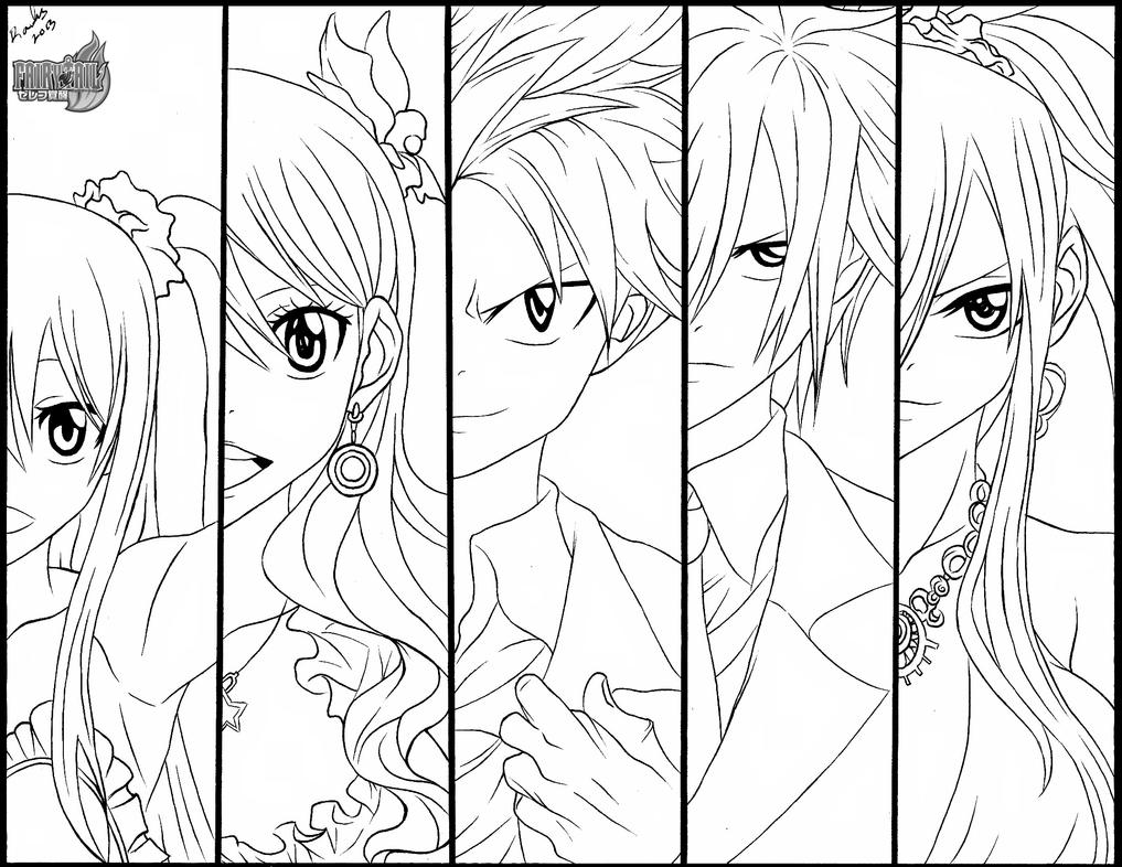 The fairy tail gang by randazzle100 on deviantart for Fairy tail coloring pages anime