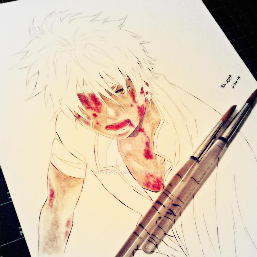 Gintama . Gintoki Sakata W.I.P - Traditional Color by Randazzle100