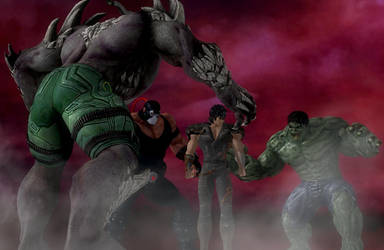 Kenshiro surrounded by Hulk Bane and Doomsday by Ken982