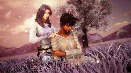 Commission Yuria Comforting Casca by Ken982