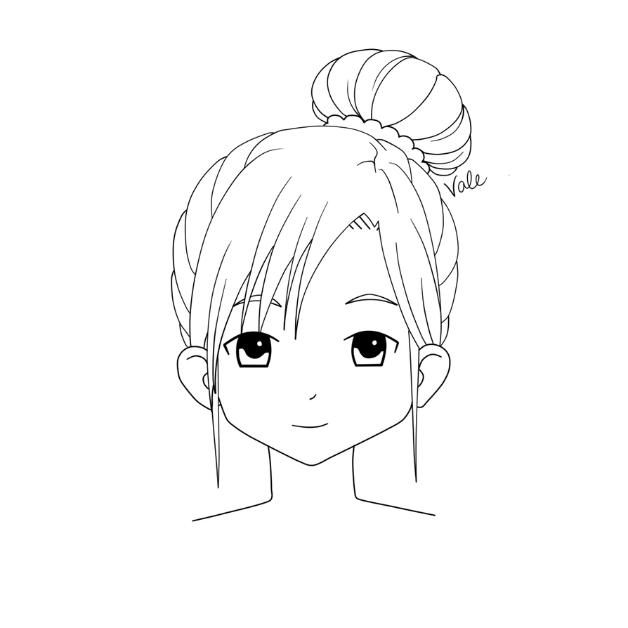 Drawing To The Messy Side Bun Coloring Pages