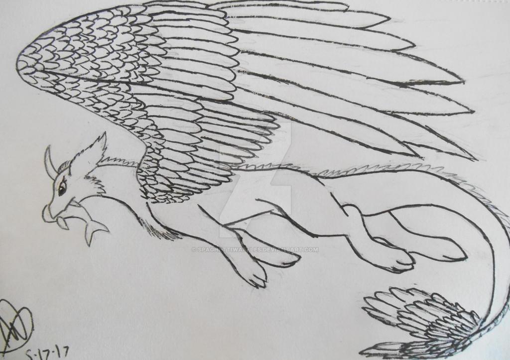 Random Feathered Dragon by SpaghettiWaffles