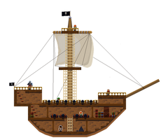 Modular Pixel Pirate Ship by RollToNotDie