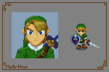 Link Portrait and Character Sprite by RollToNotDie