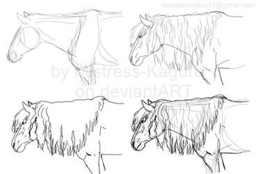 Greek x American pinto horse sketch by Mistress-Kagura