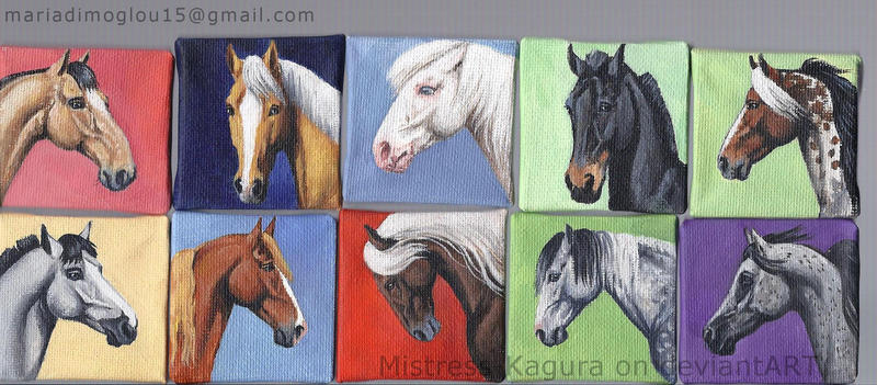 5x5 cm horse paintings by Mistress-Kagura