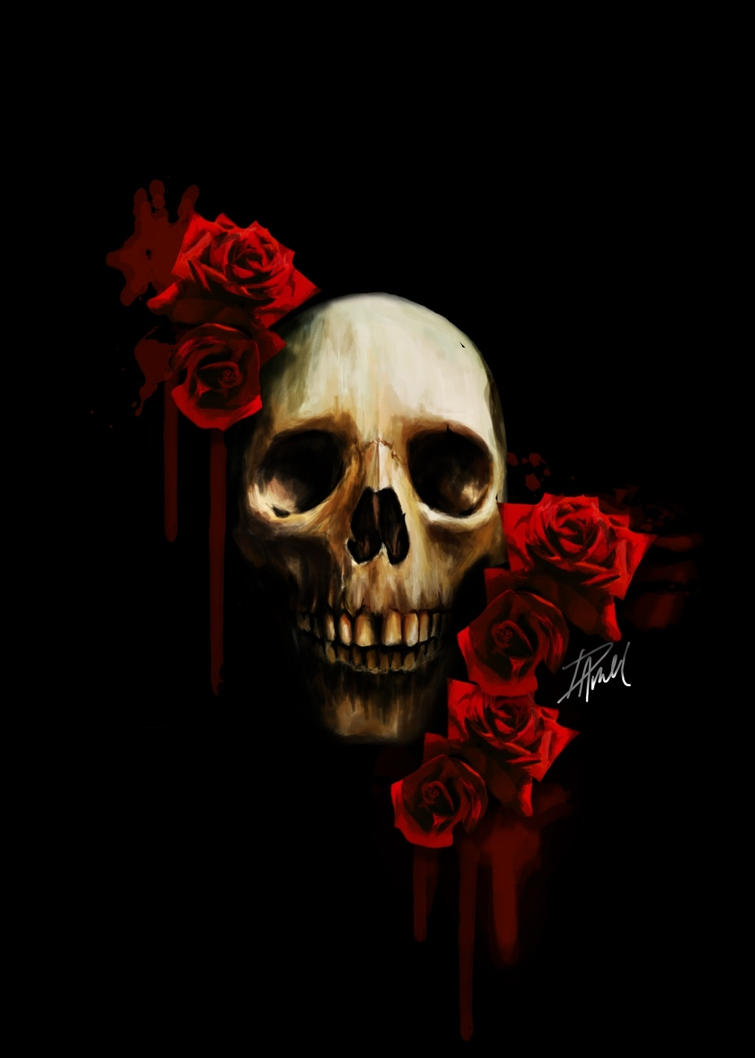 skull and roses wallpapers - photo #16
