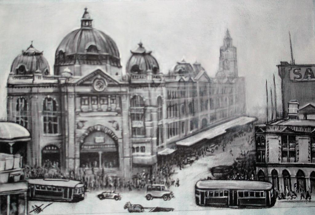 Flinders street station, Melbourne. circa 1930 by that-car-bloke