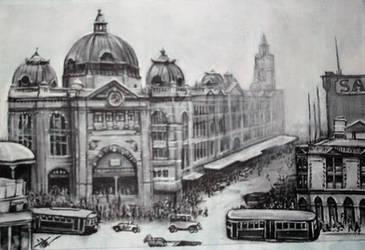 Flinders street station, Melbourne. circa 1930