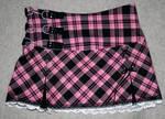 Pink and black plaid skirt