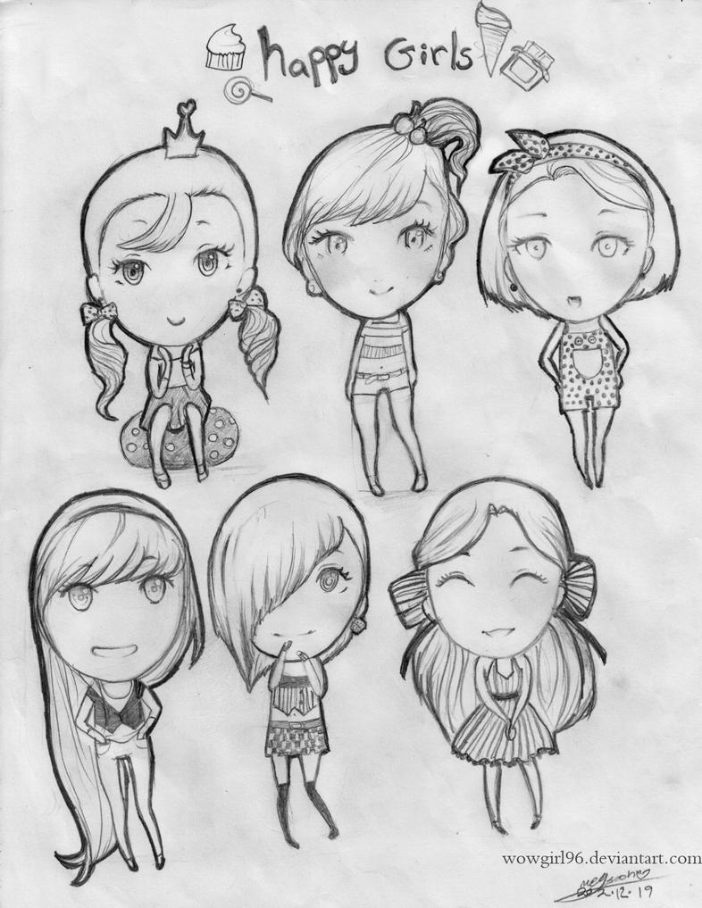 happy chibi girls by wowgirl96 on deviantART
