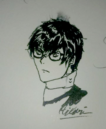 Persona 5 Protagonist - Inktober Day 2 by illuminatedflower