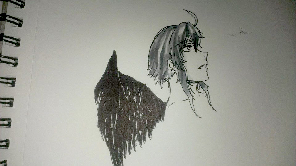 The Fallen Angel - Inktober by illuminatedflower