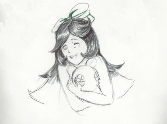 Pen Half Body Commission sketch by illuminatedflower