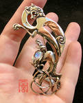 Griffin Brooch with Moonstone