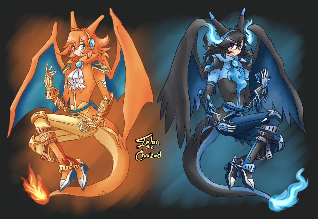XY Gijinka-Talon The Charizard/Mega Charizard X By