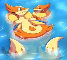 Buizel And Floatzel by MahoxyShoujo