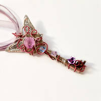 Vintage Key Necklace - Pink Fairy - Sold by DreamyElegance