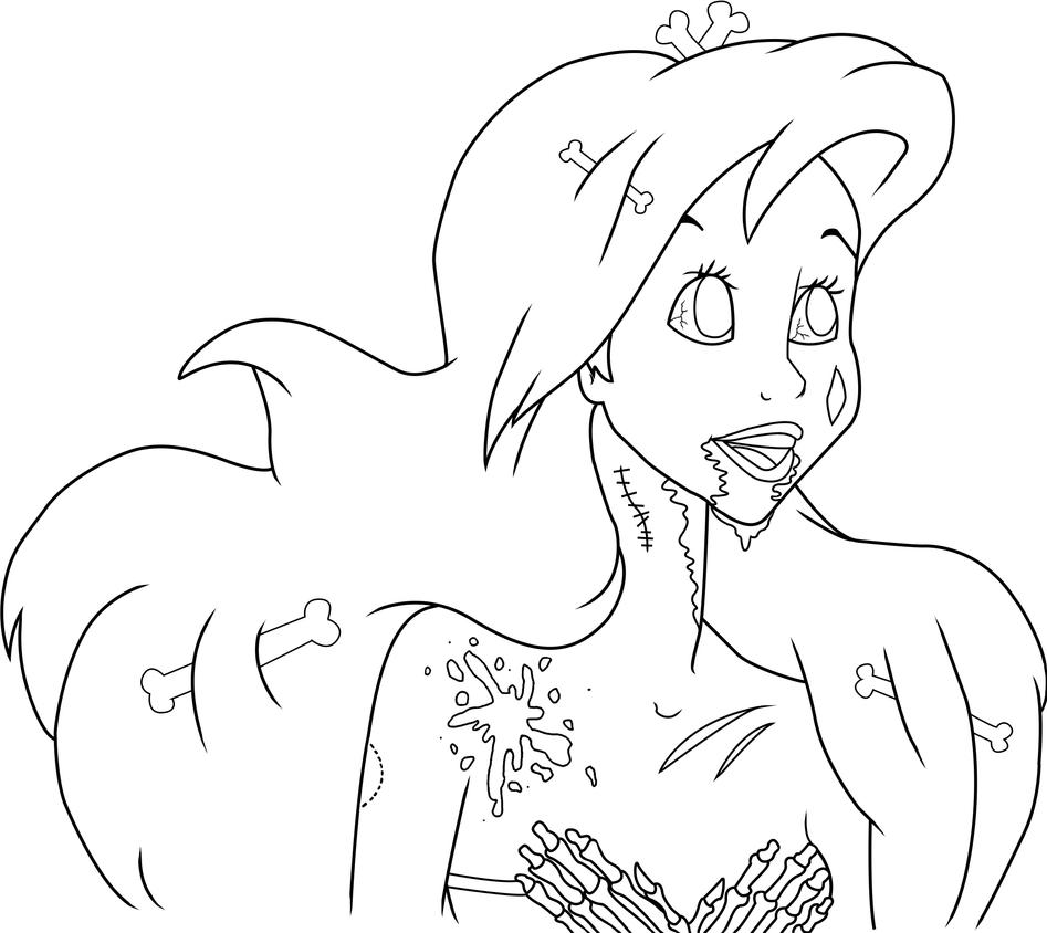 Ariel Lineart by Serene-Shadow
