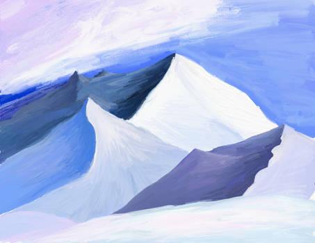 Blending on blue mountains