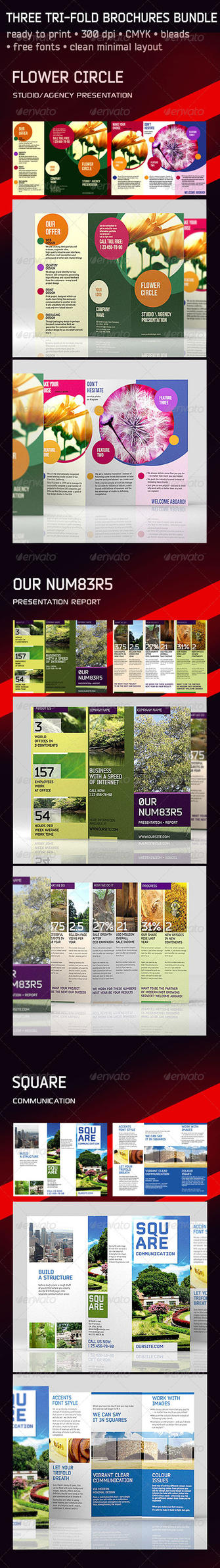 3 Trifold Brochure Set: Circle Square Numbers by theminimalnet