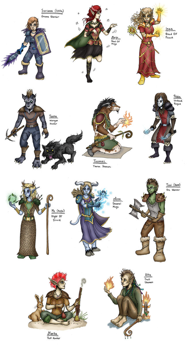 My friends as WoW Characters by lumikeiju