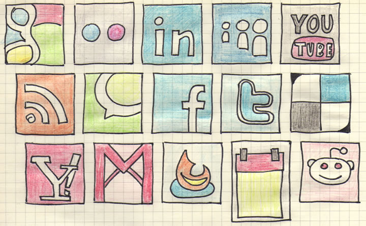 Hand drawn social media icons