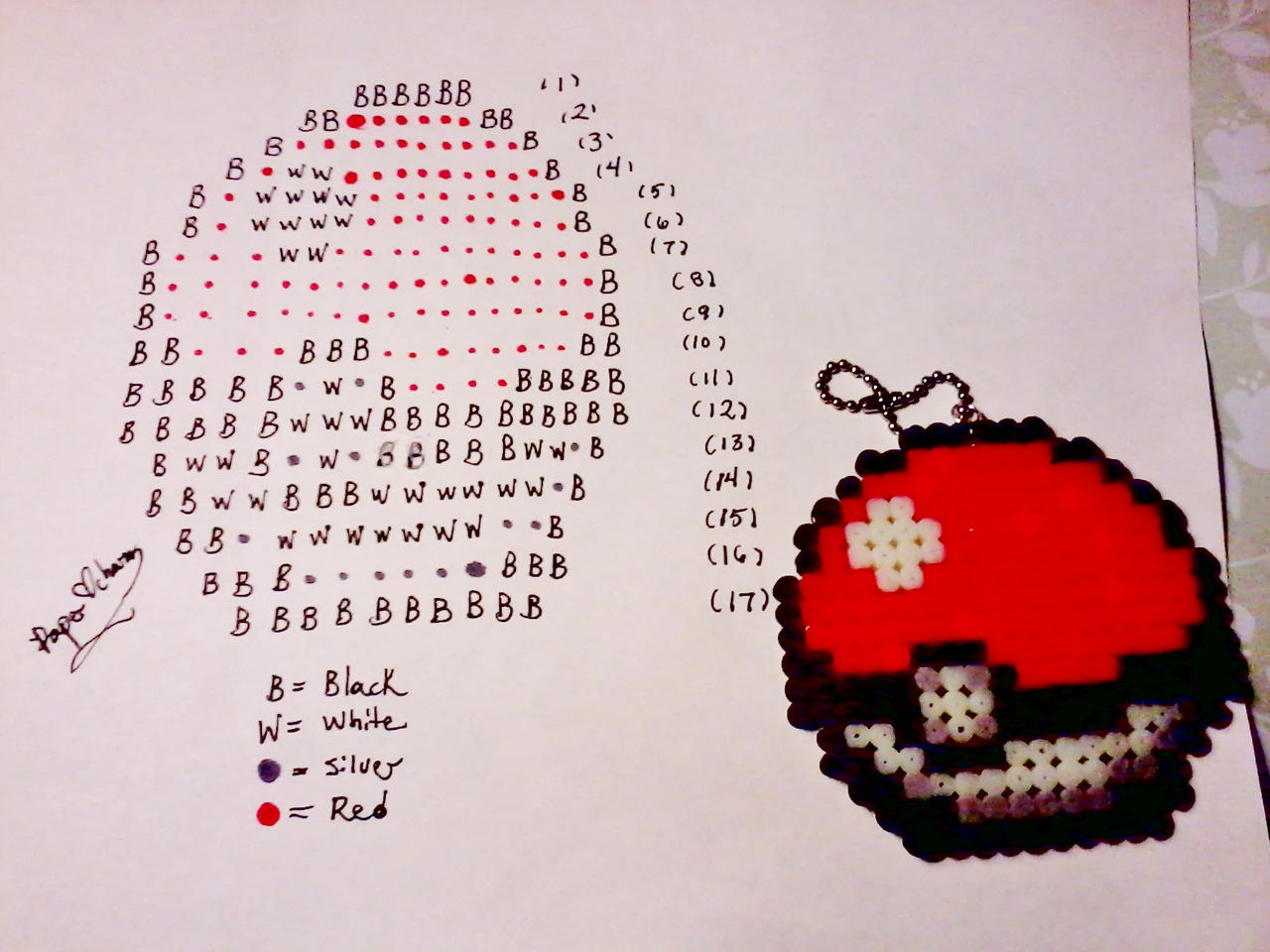 Perler bead pokeball by paperheartcharms