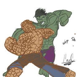 La Cosa vs Hulk / The thing vs The Hulk by Maxcreed122
