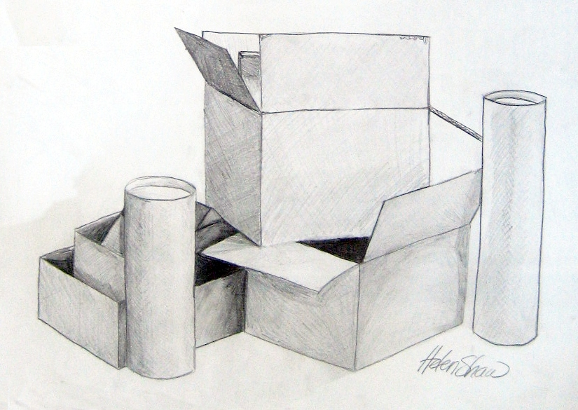 how to draw 3d stacked boxes