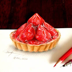 3D art - Strawberry Tart drawing