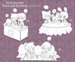 Ych Auction : Party and Drinking - chibi ver. by Toriichi