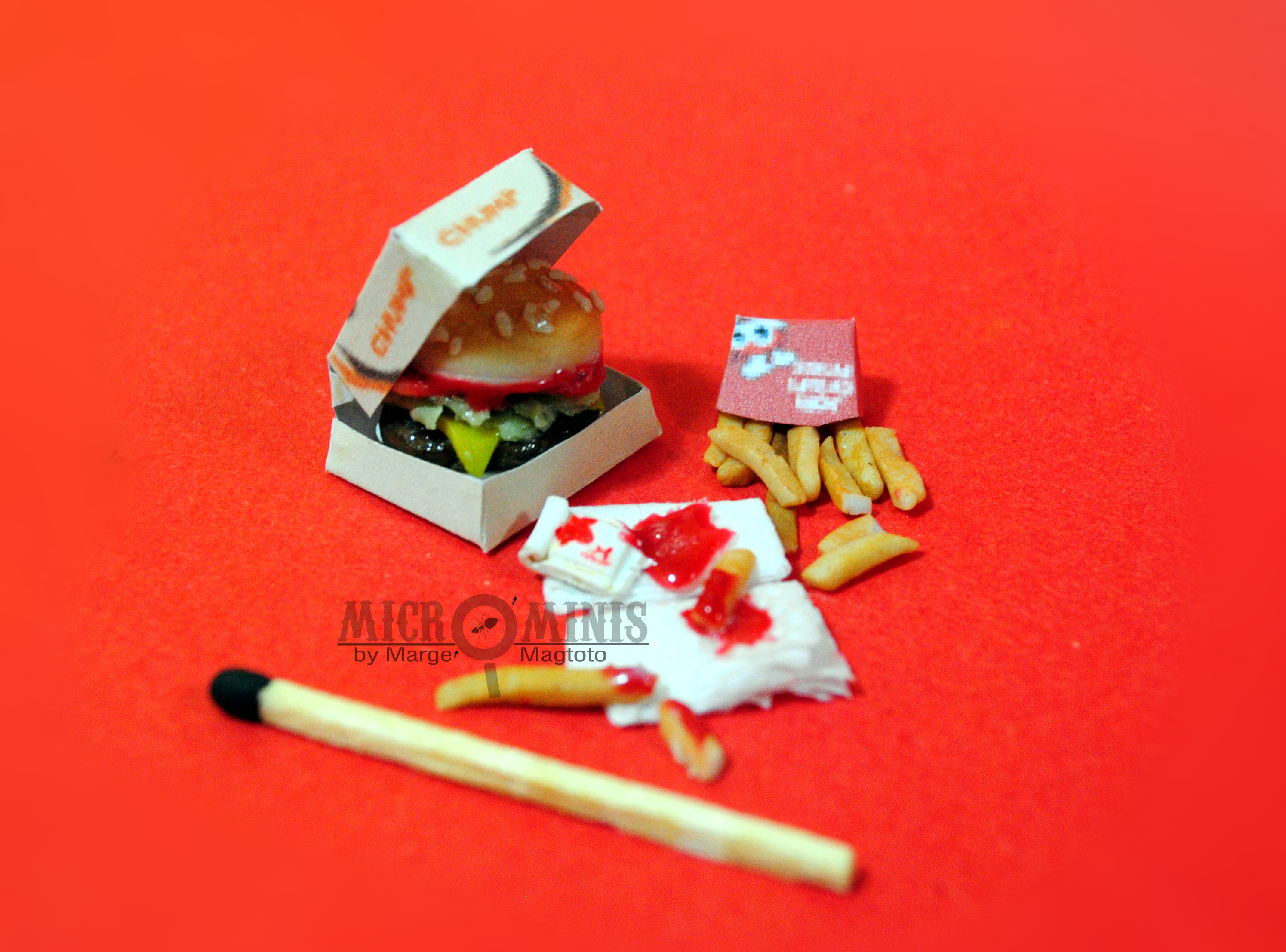Jollibee inspired Burger Meal Miniature by margemagtoto