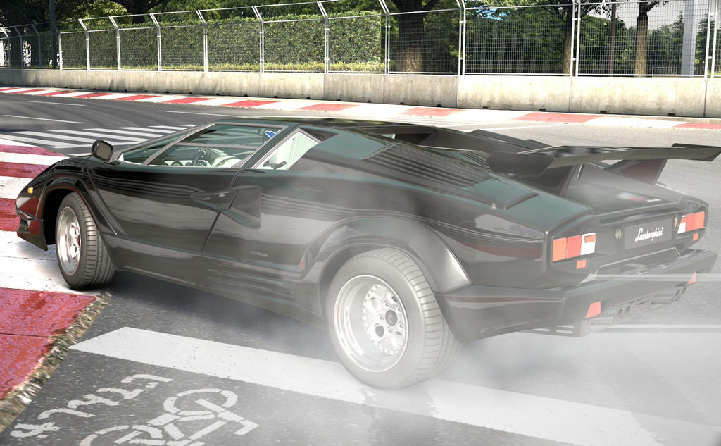 Black Countach Drifting by NightmareRacer85