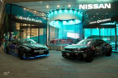 2 GTRs at Nissan Dealership in Tokyo by NightmareRacer85