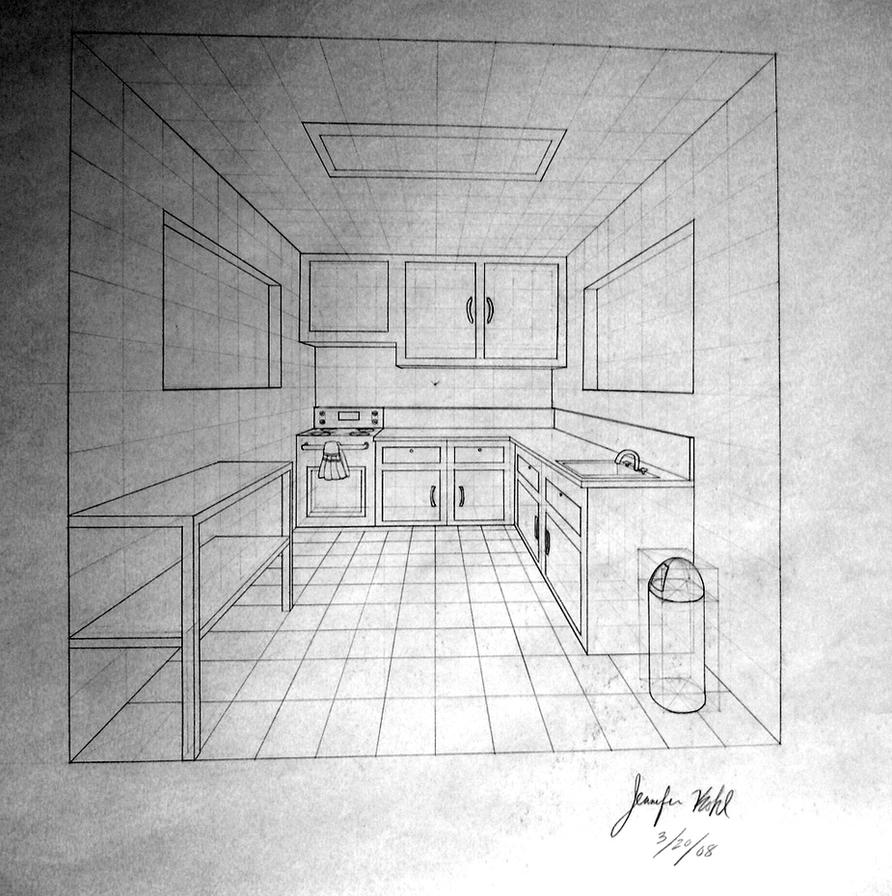 One-Point Perspective -Kitchen by krazykohla on DeviantArt