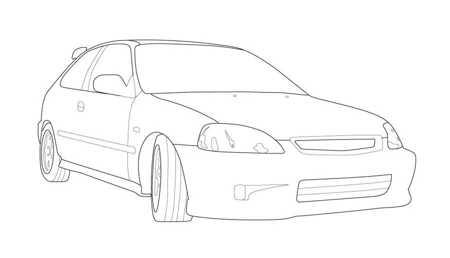 Honda Civic Drawing Car Interior Design
